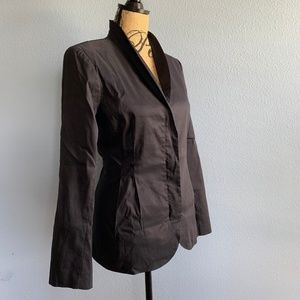 Eileen Fisher Black High Collar Peplum Jacket